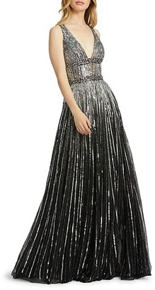 Mac Duggal V-Neck Ombre Sequin A-Line Gown