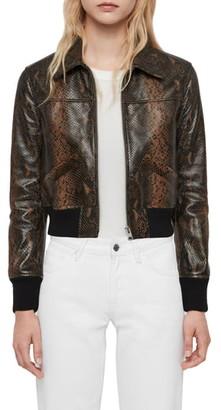 AllSaints Pascao Oba Snake Print Leather Bomber