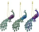 Gisela Graham - Glitter Peacock Tree Decorations - Set of 3