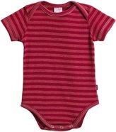 City Threads Soft Stripe S/S Snap Bodysuit - Smurf/Orange Stitch - 12-18 Months