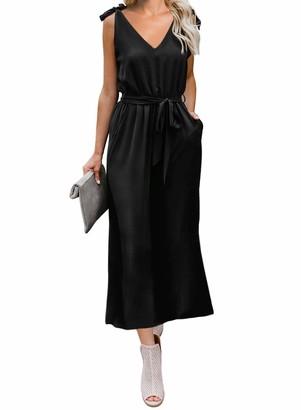 Asvivid Women Sleeveless Bowknot Shoulder Strap V Neck Casual Loose Basic Maxi Dress with Belt