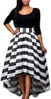 Suvotimo Women Elegant Party Scoop Neck Long Sleeve Shirt Tops + High Waist Swing Skater Skirt L