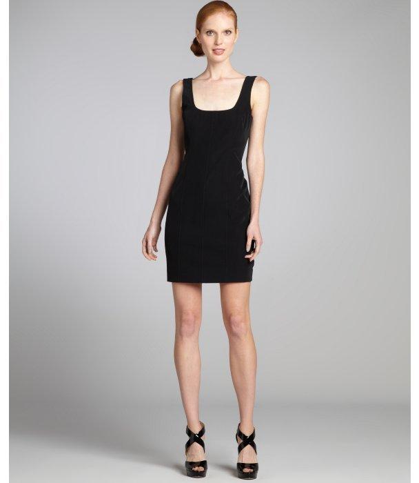 Nicole Miller black brushed scuba twill sleeveless dress