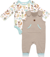 Boppy White, Blue & Brown Kangaroo Overalls & Bodysuit - Infant