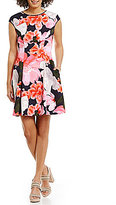 Vince Camuto Floral Cap Sleeve Fit-and-Flare Dress