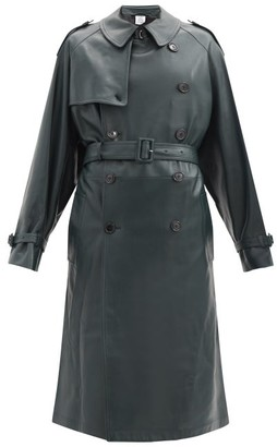 Vetements Soft Leather Trench Coat - Dark Green