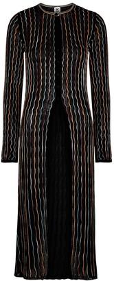 M Missoni Black embroidered fine-knit cardigan