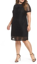 Sangria Plus Size Women's Lace Overlay Shift Dress