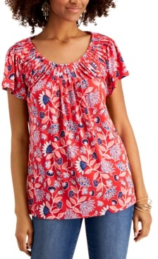 Style&Co. Style & Co Petite Printed Pleated-Neck Top, Created for Macy's