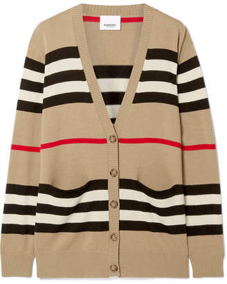 Burberry Oversized Striped Merino Wool Cardigan - Beige