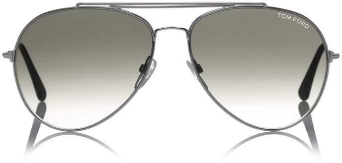 Tom Ford Indiana Aviator Sunglasses Silver