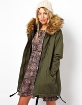 Asos Cocoon Parka With Oversized Fur Trim Hood