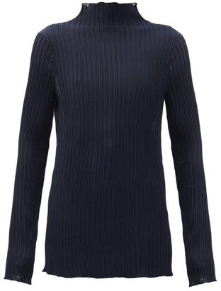Jil Sander Funnel-neck Plisse-jersey Top - Navy