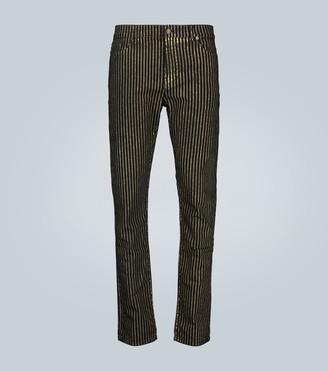 Saint Laurent Metallic-striped skinny jeans