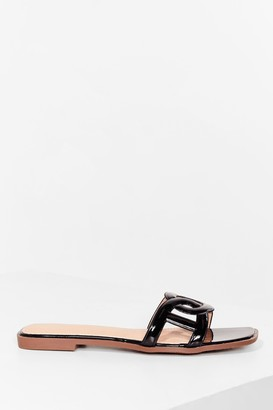Nasty Gal Womens Faux Leather Circular link square toe flat mules - Black