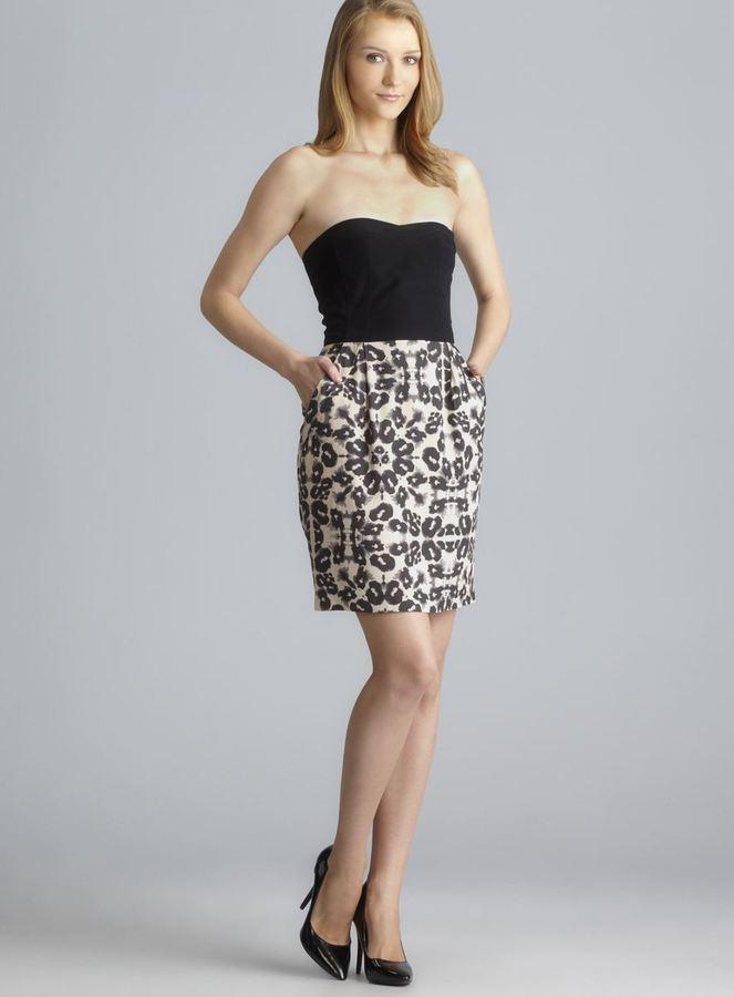Rebecca Taylor Two Pocket Strapless Colorblock Animal Print Dress