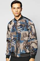 Boohoo All Over Camo Double Zip Bomber Jacket