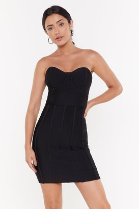 Nasty Gal Womens Bust My Luck Strapless Bandage Dress - Black - L
