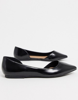 ASOS DESIGN Latoya d'orsay pointed ballet flats in black