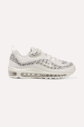 Nike Air Max 98 Lx Faux Leather-trimmed Embellished Pvc And Mesh Sneakers - Off-white
