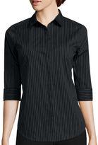 WORTHINGTON Worthington 3/4-Sleeve Button-Front Shirt