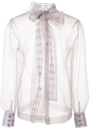 ALEXACHUNG Sheer Tulle Blouse