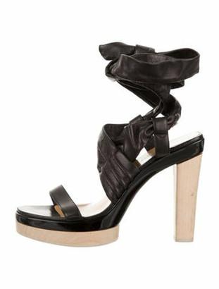 Hermes Leather Platform Sandals Black