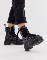 Dr. Martens Jadon XL chunky wide lace leather ankle boots in black