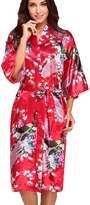 FLYCHEN Women's Satin Dressing Gowns Peacock and Blossoms Kimono Robes US 16-20 3XL