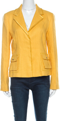 Roberto Cavalli Yellow Textured Linen Blend Button Front Blazer M