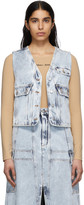 MM6 MAISON MARGIELA Blue Acid Wash Denim Vest