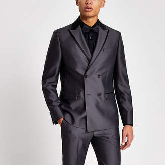 River Island Grey tonic double breasted skinny suit jacket