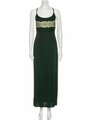 Herve Leger Scoop Neck Long Dress Green