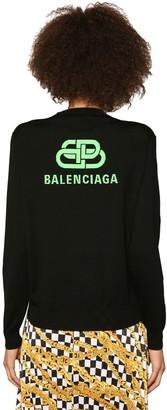 Balenciaga Intarsia Logo Knit Wool Sweater