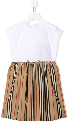 BURBERRY KIDS Contrast-Panel Shift Dress