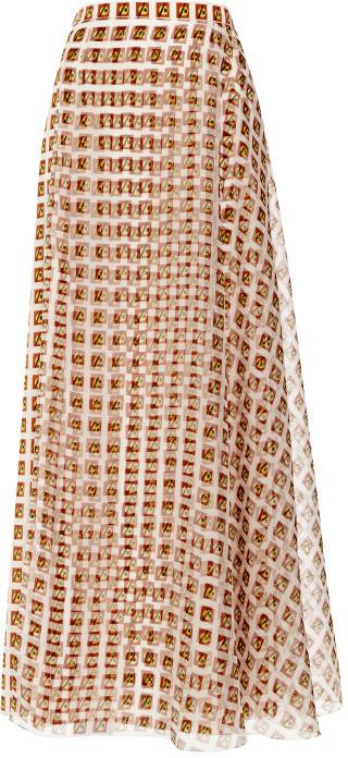 Carolina Herrera Printed Skirt With Organza Overlay
