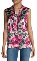 St. John Silk-Blend Floral Top