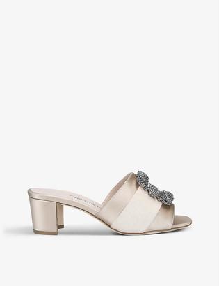 Manolo Blahnik Martamod 50 embellished satin heeled mules