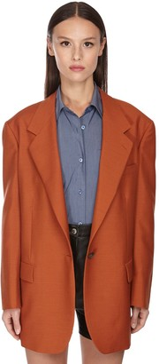 Salvatore Ferragamo Oversize Backless Wool & Mohair Jacket