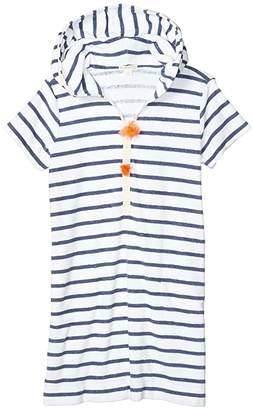 crewcuts by J.Crew Terry Pom-Pom Dress (Toddler/Little Kids/Big Kids) (White/Dusty Navy) Girl's Clothing