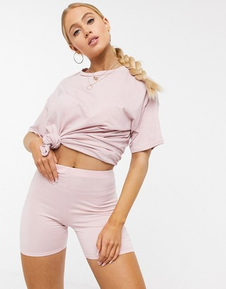 ASOS DESIGN lounge co-ord legging short in washed pink