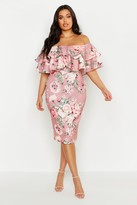 Thumbnail for your product : boohoo Plus Off Shoulder Floral Ruffle Midi Dress