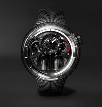 HYT - H1.0 x MR PORTER Limited Edition Hand-Wound 48.8mm Stainless Steel and Rubber Watch, Ref No. H02361 - Men - Black