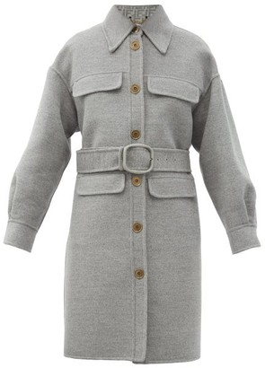 Fendi Single-breasted Logo-belt Felted-wool Coat - Light Grey