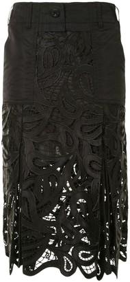 Sacai Lace-Panelled Midi Skirt