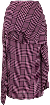 colville Plaid Asymmetric Shirt-Style Skirt