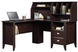 Three Posts Olney L-Shape Credenza Desk with Hutch