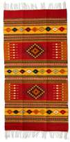 Handcrafted Zapotec Wool Accent Area Rug (2.5x5), 'Red Mexican Chrysanthemum'
