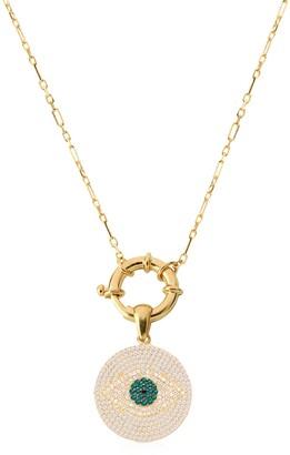 Gab+Cos Designs 14K Yellow Gold Vermeil Pave Evil Eye Disc Pendant Necklace
