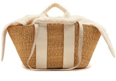 Muun George faux-shearling and woven-straw bag